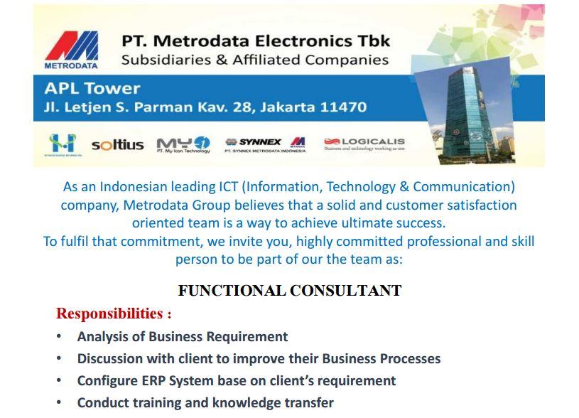 Lowongan Kerja PT. Metrodata Electronics Tbk Mei 2016