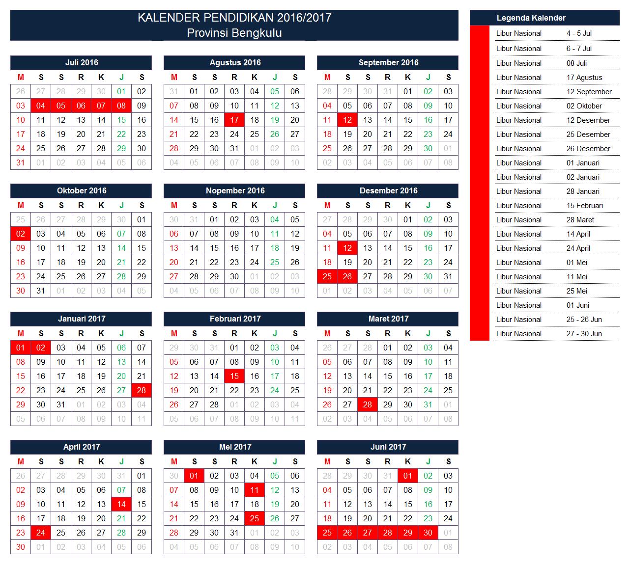 Kalender Pendidikan Provinsi Bengkulu