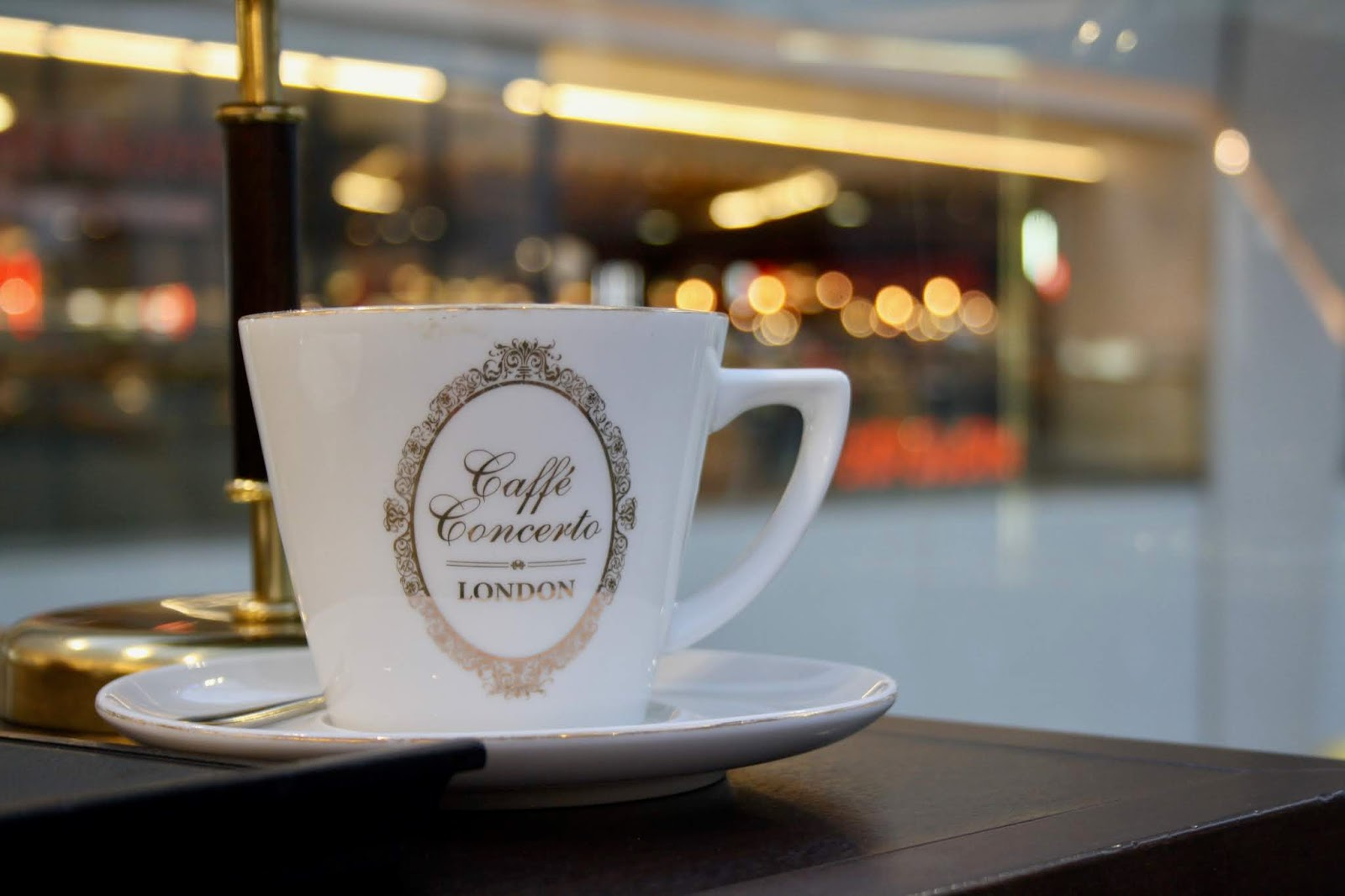 close up of a coffee cup at Caffe Concerto, Grand Central Station, Birmingham