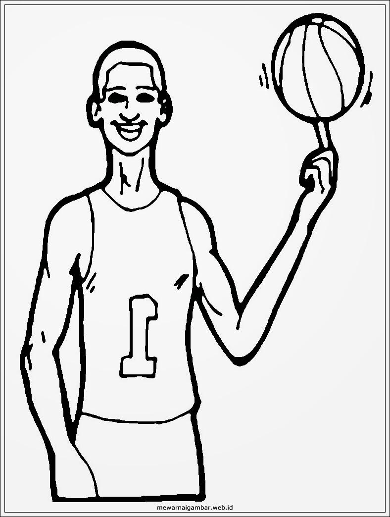 mewarnai gambar anak perempuan bermain bola basket mewarnai gambar pemain basket