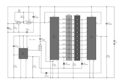 Two Colour LED Light Bar Circuit Diagram