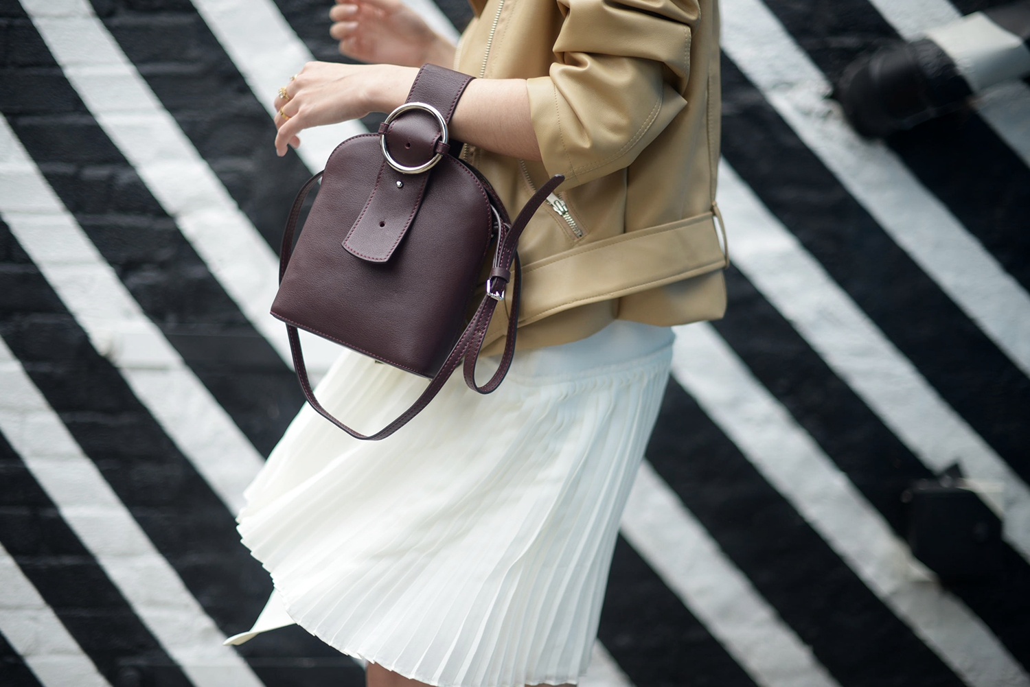 Pleated Dress Derek Lam Beige Leather Jacket | FOREVERVANNY.com