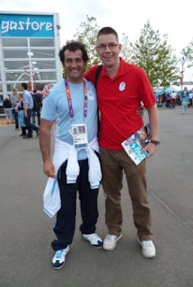 Meeting Olympic underdog Emanuele Guidi of San Marino (left) at the London 2012 Games