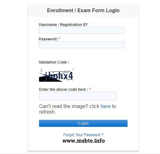 msbte exam form login