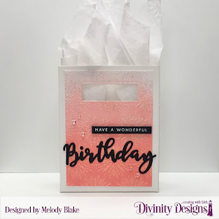 Divinity Designs Stamp/Die Duos: Birthday, Custom Dies:  Card Caddy & Gift Bag, Gift Bag Handles & Topper, Mixed Media Stencils: Flower Burst