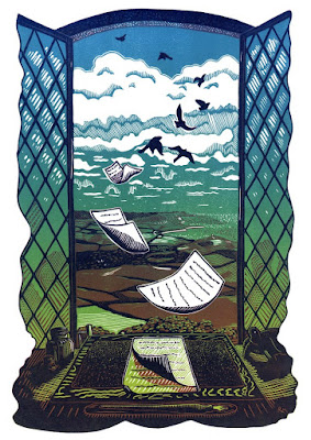"""Window"" Three colour reduction linocut by Robin Mackenzie"