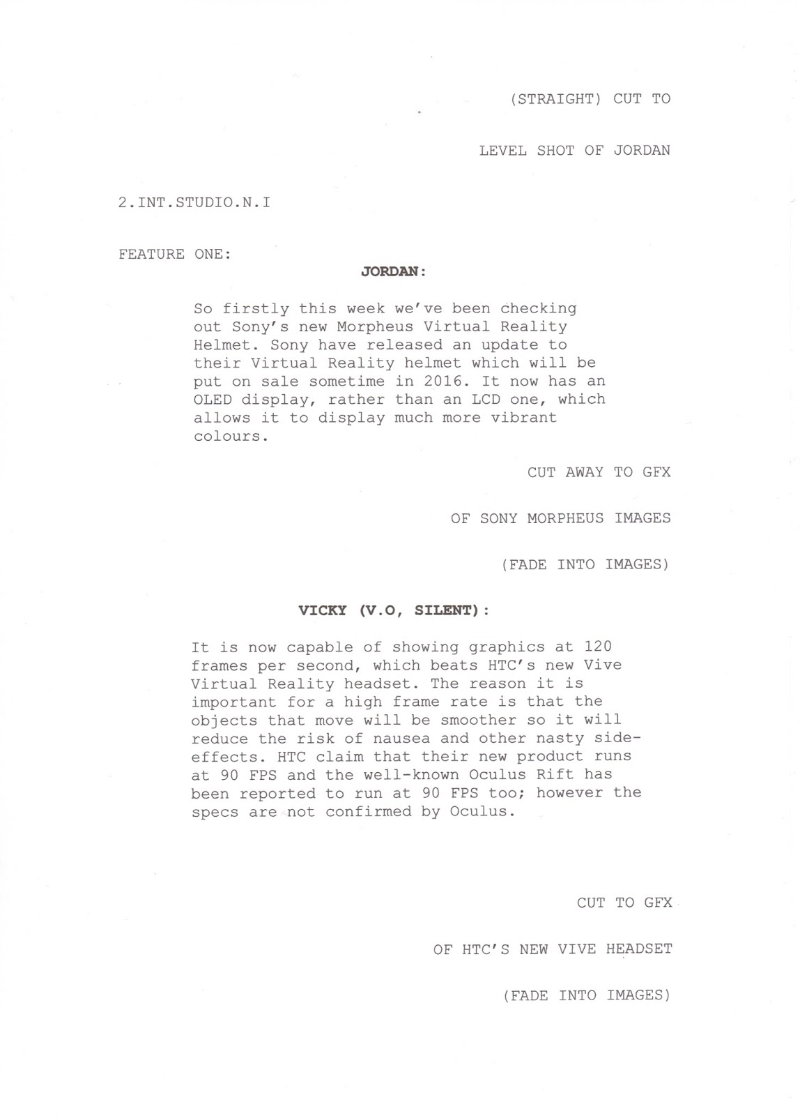 Unit 11: Scriptwriting for Media Products: LO3: Script for News