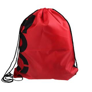 Sports Drawstring Bag Oxford Polyester Red