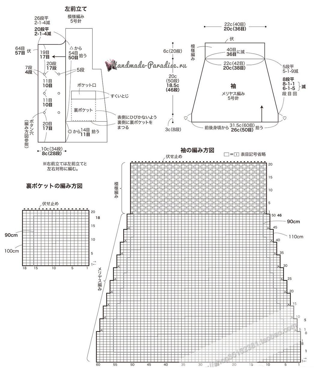 Схемы вязания спицами двубортного детского жакета (2)