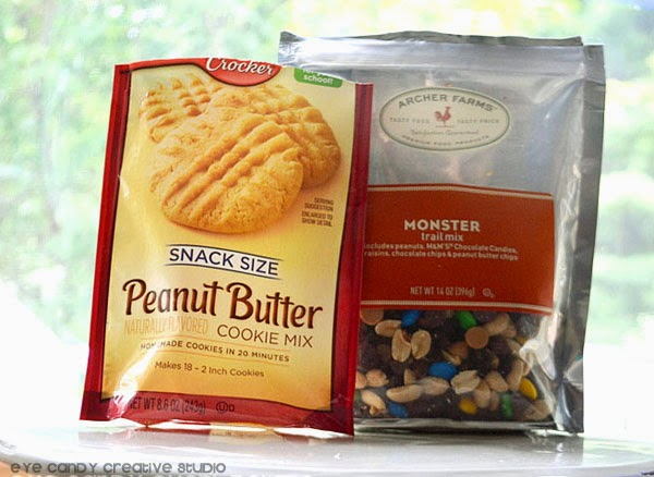 peanut butter cookie recipe mix, Archer Farms monster trail mix, cookies