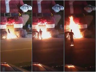 Irmãos ateiam fogo em Papai Noel gigante em Ji-Paraná e são presos