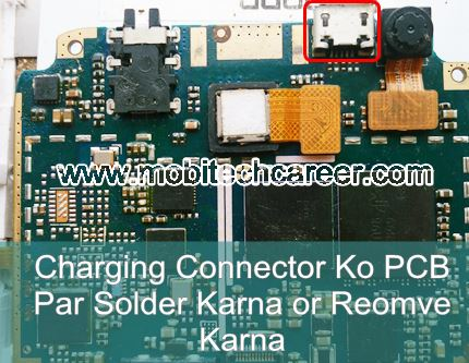 How to solder & remove Charging connector socket on pcb of a mobile cell phone in mobile phone repairing in hindi
