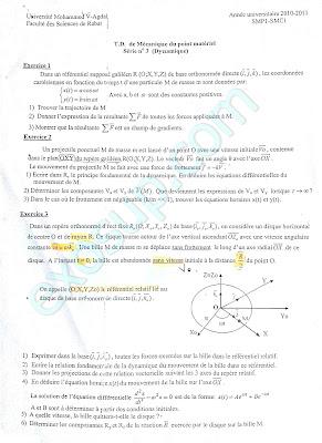 exercices Mécanique du point matériel smpc s1 fsr
