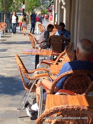 sidewalk seating at Copenhagen Bakery & Cafe in Burlingame, California