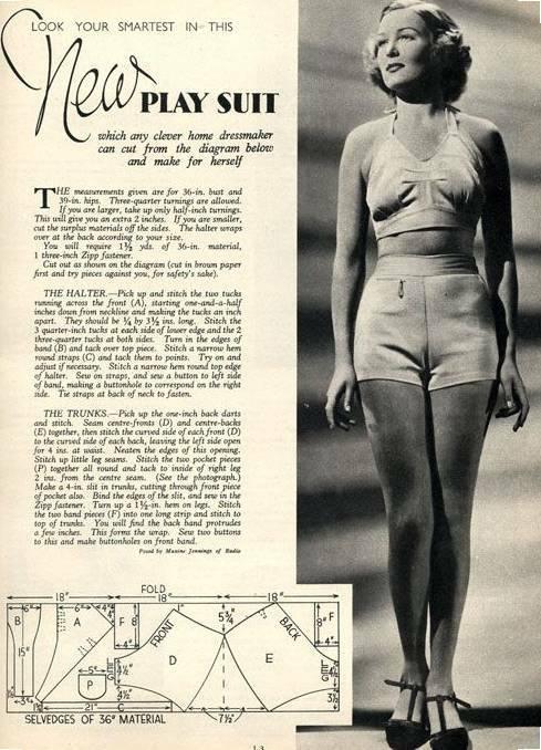 fad27e382d Sew Your Own 1930s Bathing Suit - Playsuit - Beach Suit