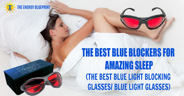 Woman sleeping with image showing blue light blocking glasses.