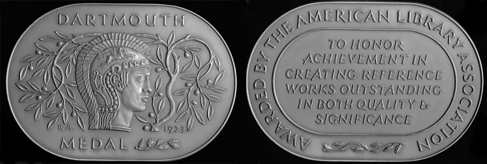 The front and back of The Dartmouth Medal.