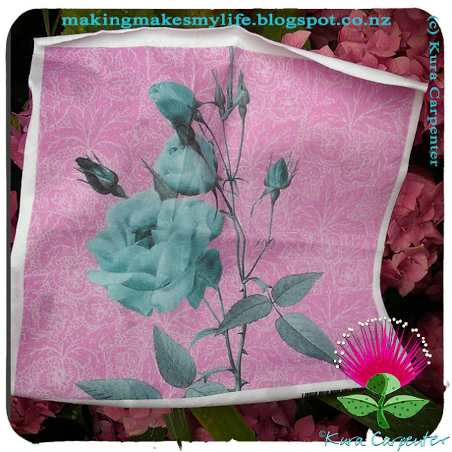 """Antique Roses - Minty on Pink"" fabric design by Kura Carpenter, available via Spoonflower"