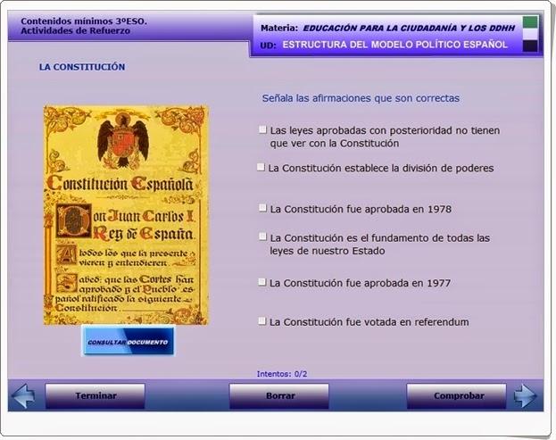 """""""Estructura del modelo político español"""" (Aplicación interactiva)"""