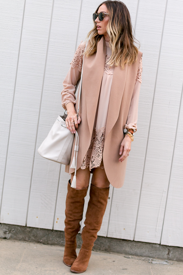 blush smocked dress