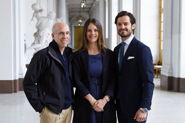 Prince Carl Philip and Princess Sofia Hellqvist of Sweden met with producer Jeffrey Katzenberg, jewelery, diamond tiara, dresses fashion