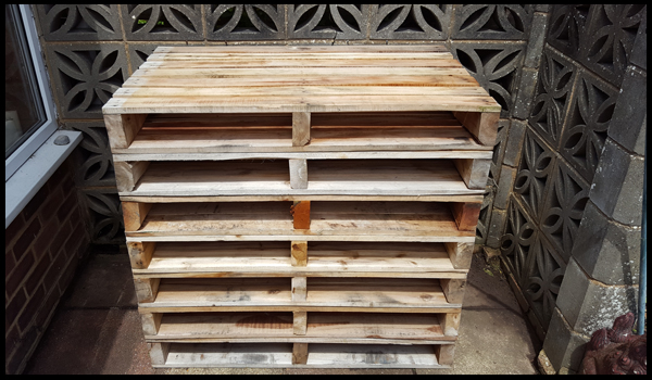 collecting pallets for the potting station