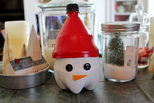 Snowman Soda Bottle Candy Container
