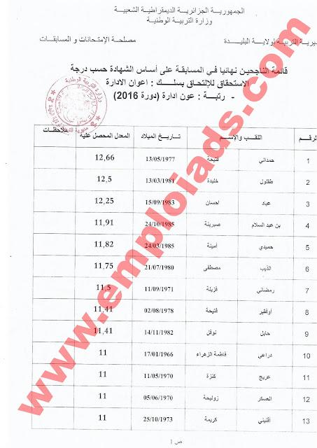 اعلان عن نتائج مسابقة عون ادارة 2016 مديرية التربية ولاية البليدة مارس 2017