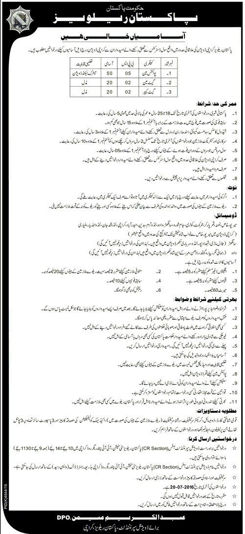 Pakistan Railways jobs in Karachi Division