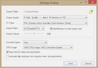 Tampilan settings dialog