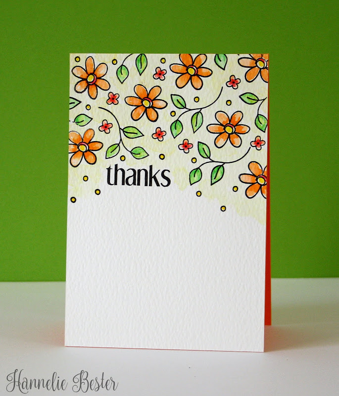 Watercolored card with Altenew doodled blooms set