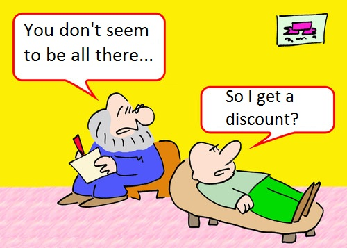 Funny not all there psychiatrist therapy cartoon joke picture