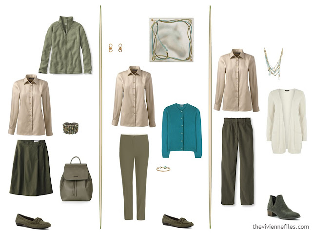 3 ways to wear a khaki shirt in a capsule wardrobe
