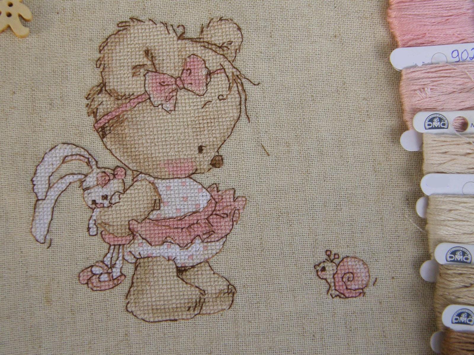 Мишка с улиткой вышивка схема