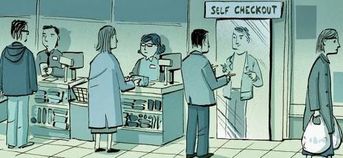Funny Self Checkout Cartoon Joke Picture
