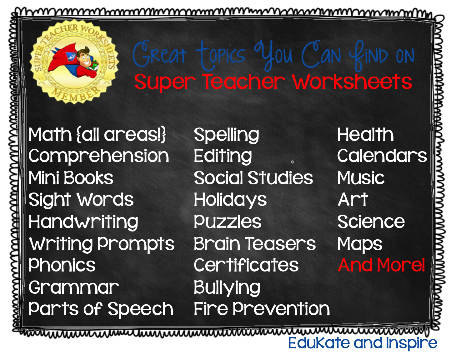 Super Teacher Worksheets: A Review and Giveaway! - EduKate and Inspire