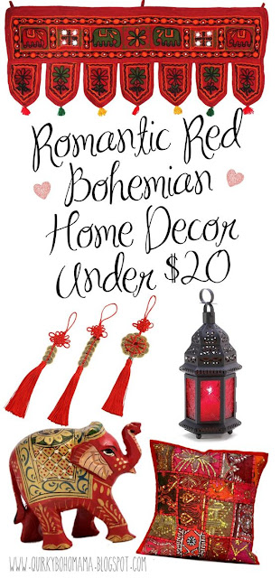 Red Bohemian Home Decor Under $20. Affordable Valentines Day Home Decor. Boho hippie home decor under $25. #bohemiandecor Bohemian Valentines Day. bohemian home decor stores. bohemian chic home decor. bohemian home decor ideas. gypsy home decor. bohemian decor on a budget. cheap boho decor. boho decor shop. bohemian home decor pinterest. Bohemian valentines.