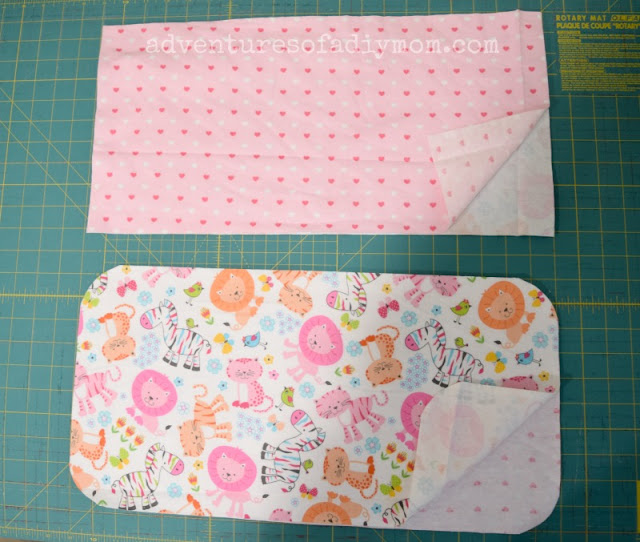 cut the fabric for the burp cloths