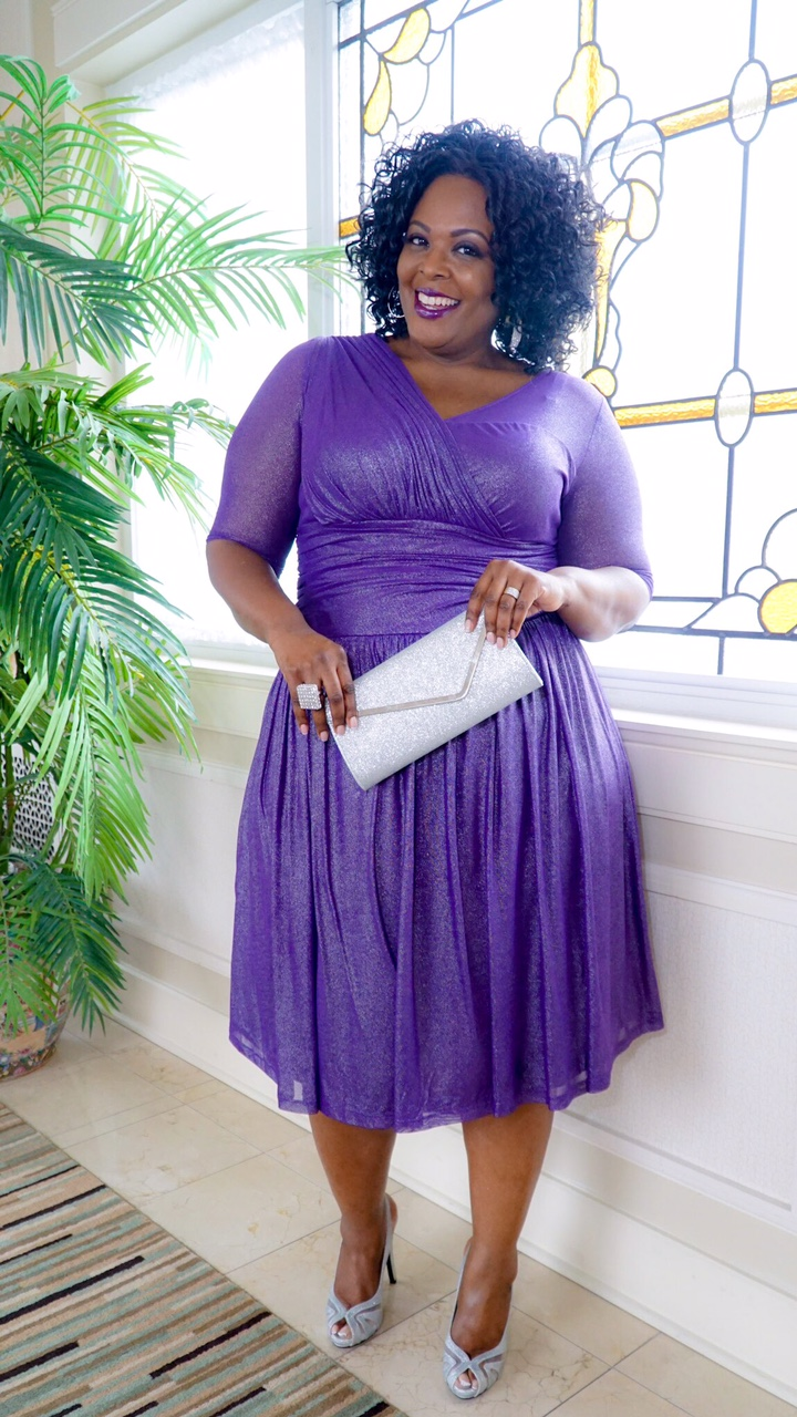 plus size cocktail dress, plus size purple dress, plus size evening wear