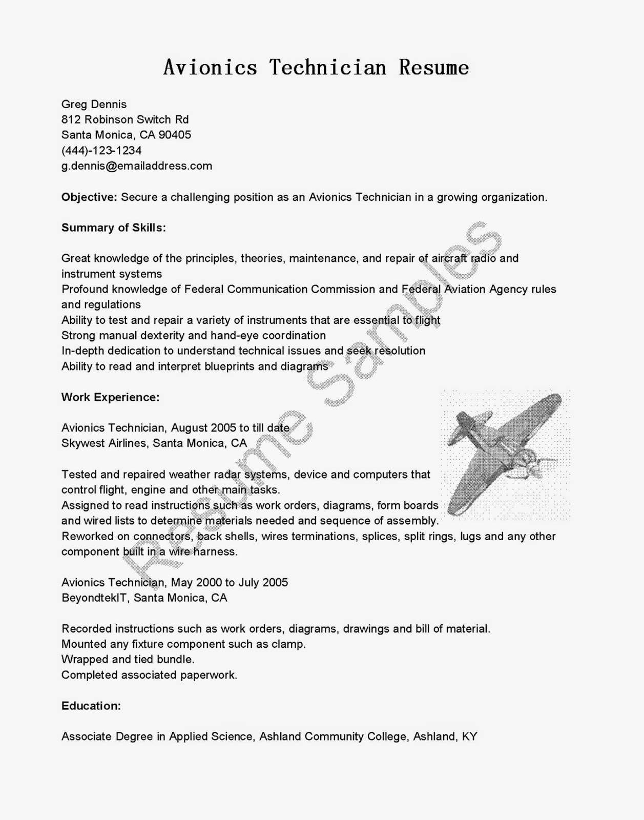 avionics technician resume sample avionics resume - Avionics Technician Resume