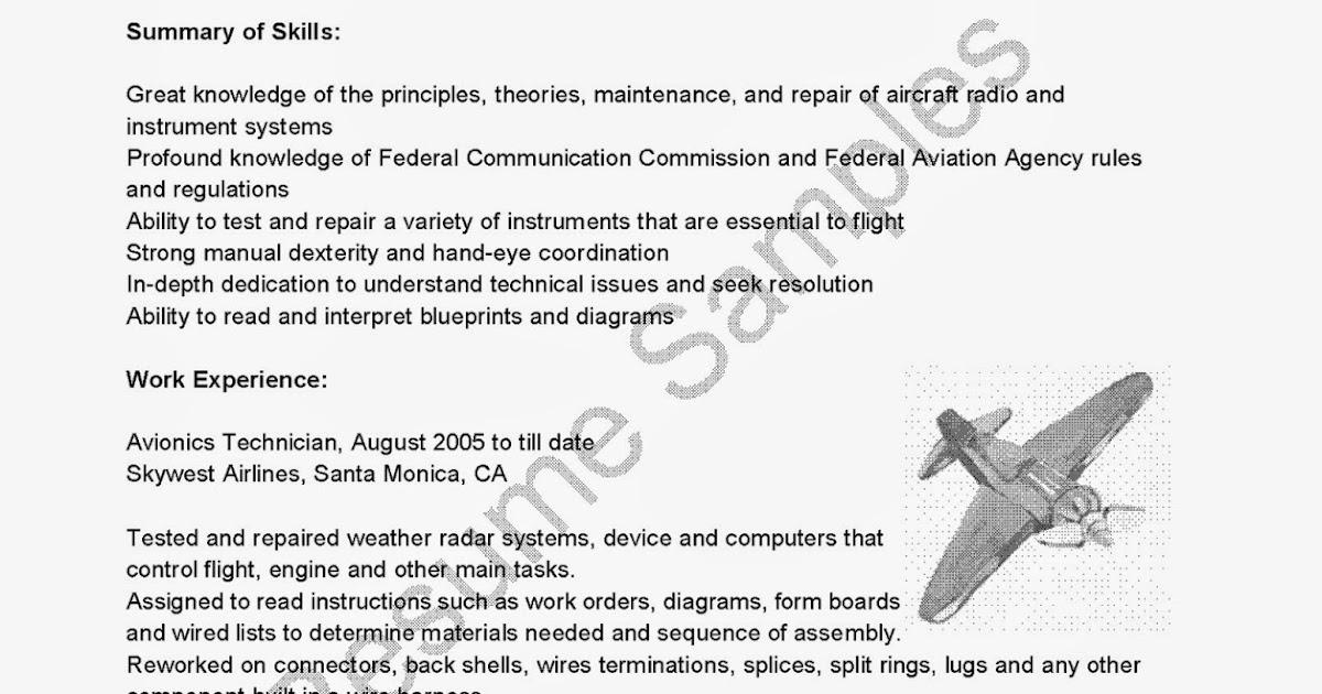 Resume Samples Avionics Technician Resume Sample