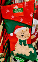 Dollar Tree calico cat merry christmas stocking green bow santa hat