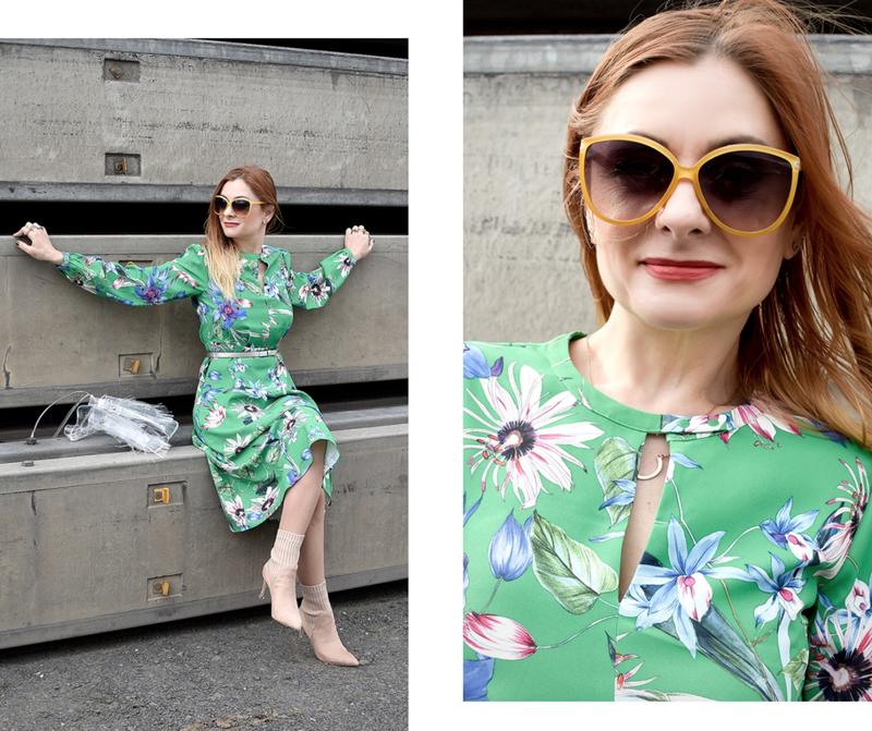 Grünes Damenkleid von H&M, Sommerkleid mit langen Ärmeln, Modeinsp für Ü40 Frauen