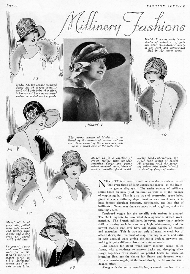 daytime hats with brims, milinery fashions for daytime 1925 1926