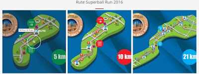 Rute SuperBall Run 2016 Jakarta fx sudirman lomba lari flyover pakai jersey bola