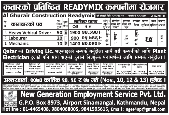 Jobs in Qatar for Nepali, Salary Rs 54,354