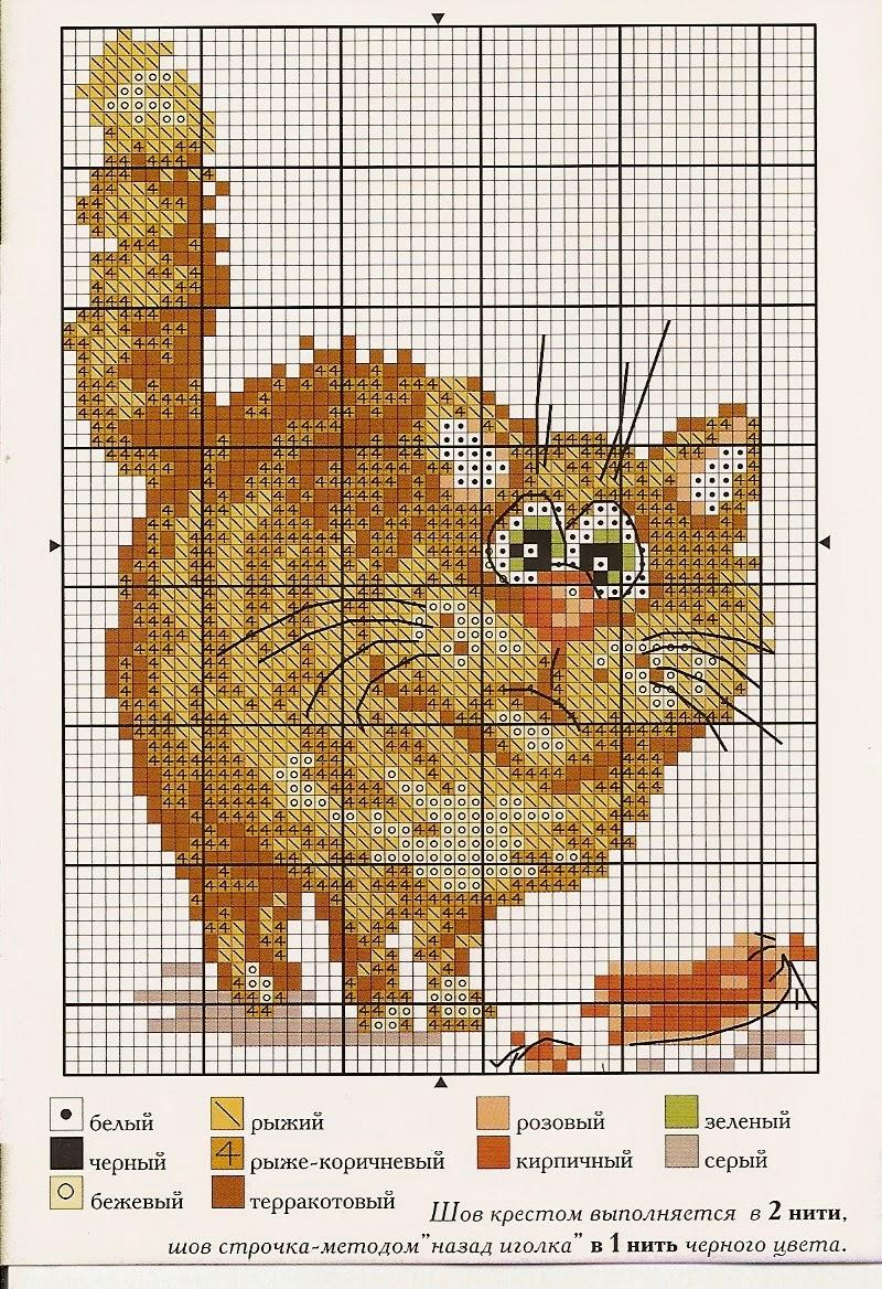 схема вышивки крестом кошки триптих