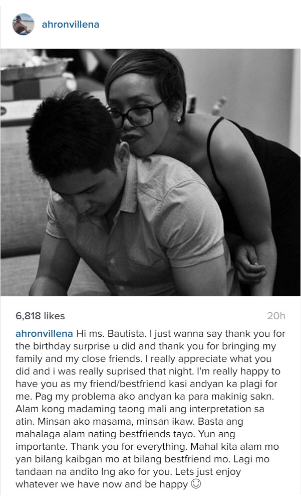 Ahron Villena writes an open letter and referred Cacai Bautista as friend