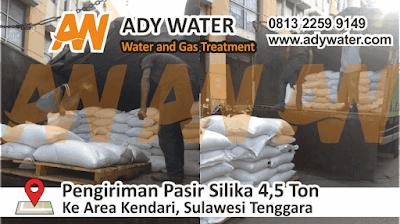 Pengiriman pasir silika 4,5 ton ke Kendari