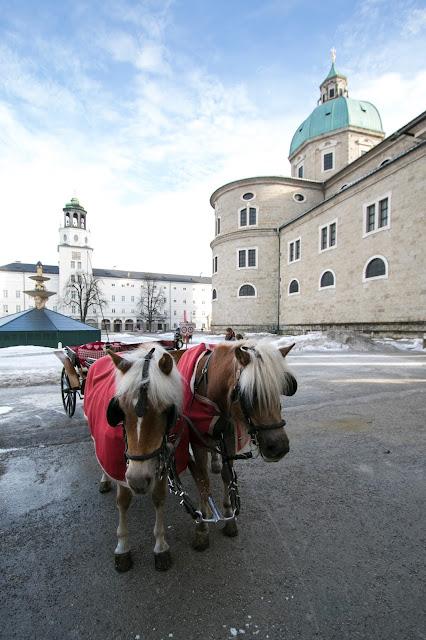 Carrozza con cavalli a Mozartplatz e Duomo-Salisburgo